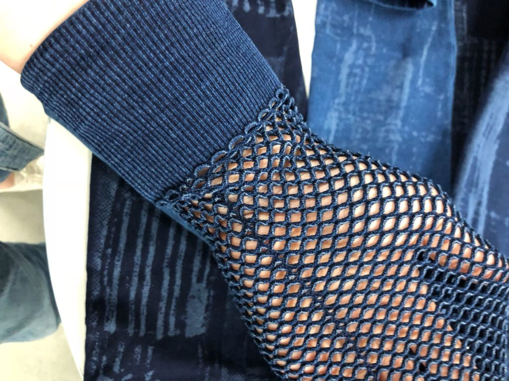 dettaglio maglieria infiknity progetto denim knitwear per Arvind