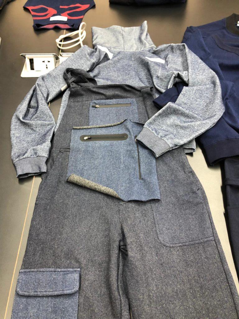 Salopette prototype Infiknity denim knitwear for Arvind