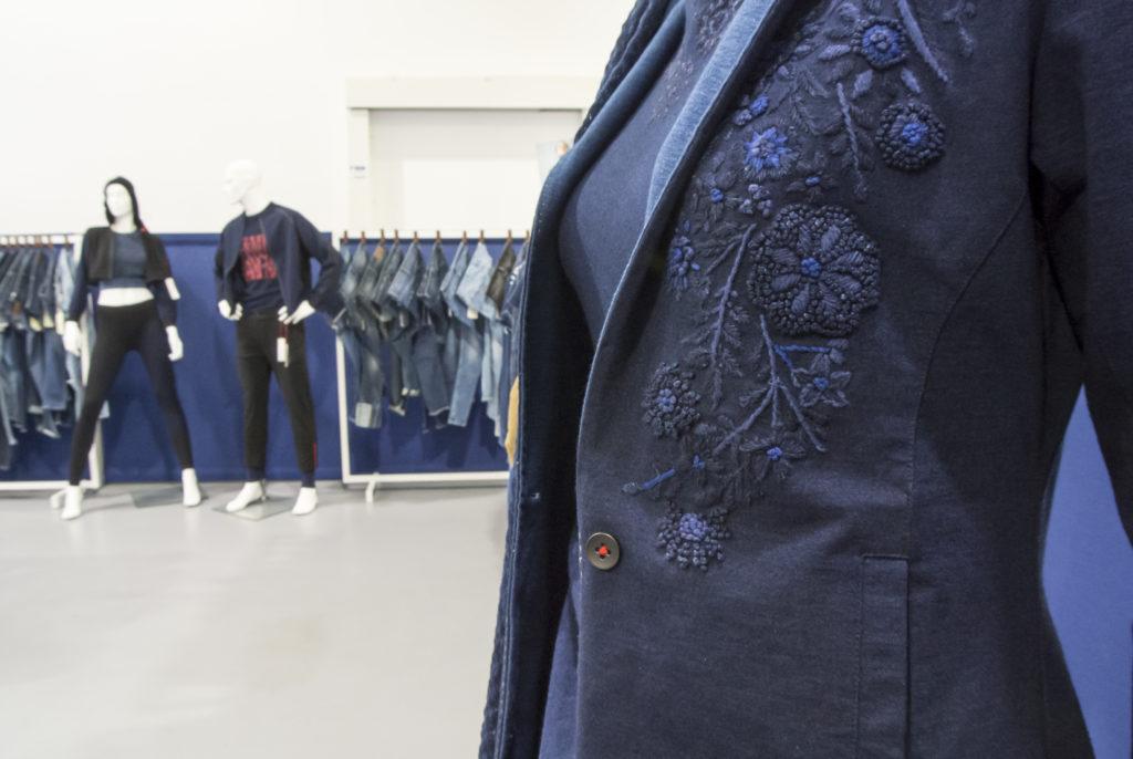 Indigo embroidery in Infiknity prototype denim knitwear for Arvind