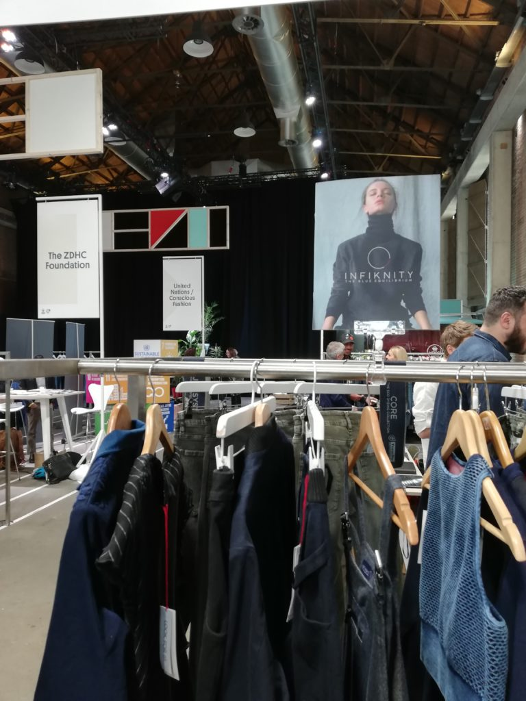 Infiknity indigo knitwear Arvind stand at King Pins Show