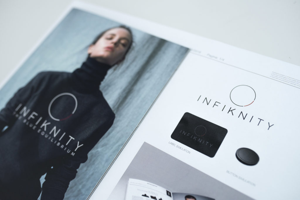 Infiknity catalogue and logo - Arvind indigo knitwear