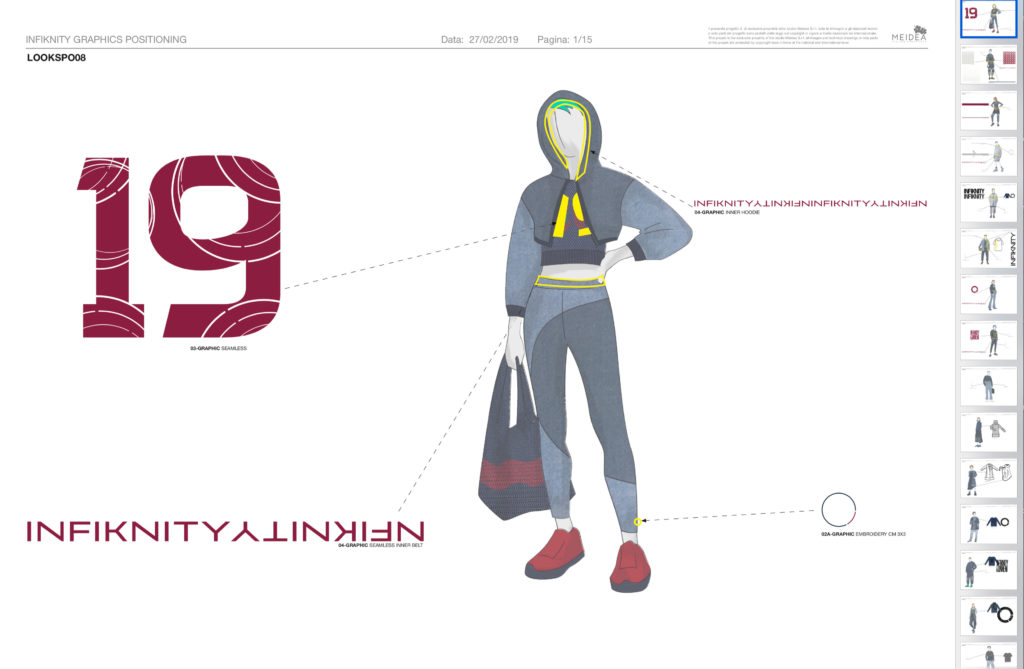 Infiknity indigo knitwear graphics positioning on garment