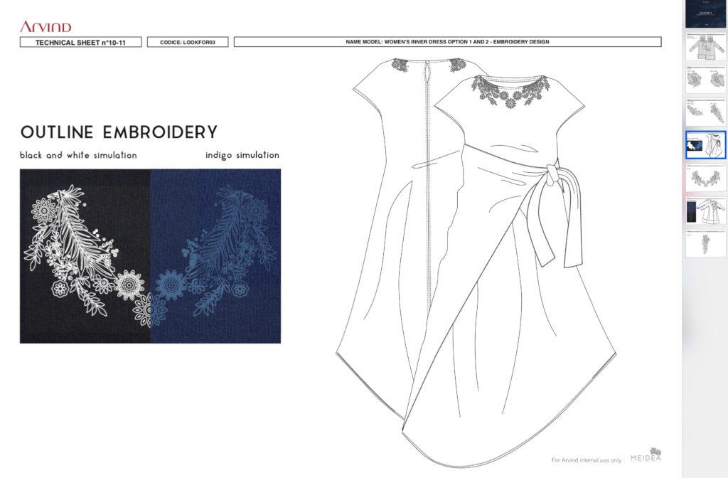 Infiknity indigo knitwear embroidery design