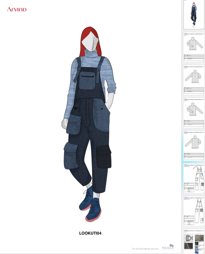 Technical sheets Infiknity indigo knitwear outfits by Meidea