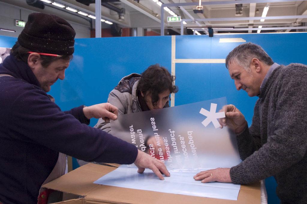Meidea Team durante l'assistenza in loco dello stand Olimpias a MilanoUnica 2014
