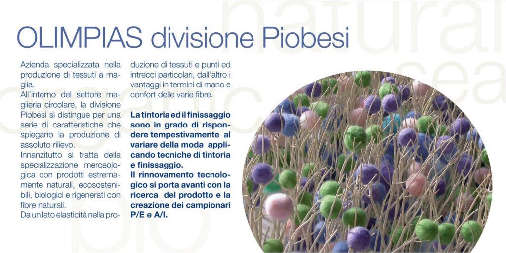Filati e tessuti sostenibili progettati da Meidea per Piombesi Olimpias